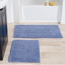 Lavish Home Cotton Bath Mat Set- 2 Piece 100 Percent Cotton Mats- Reversible, Soft, Absorbent and Machine Washable Bathroom Rugs By (Blue)