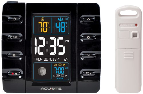AcuRite 13020 Intelli-Time Projection Alarm Clock with Temperature and USB Charging