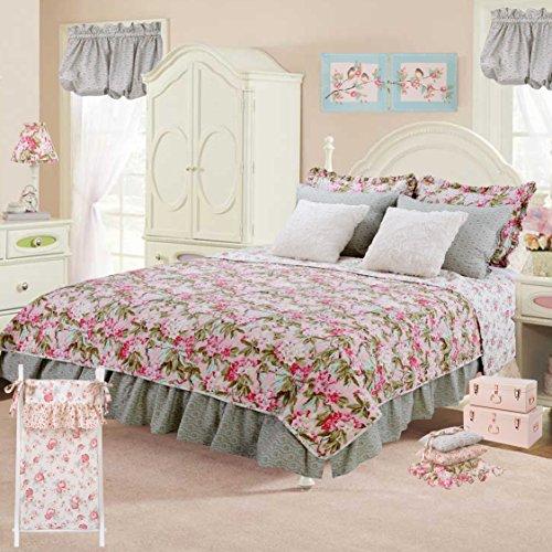Cotton Tale Designs Pink Floral 7 PC Twin Reversible Quilt Bedding Set