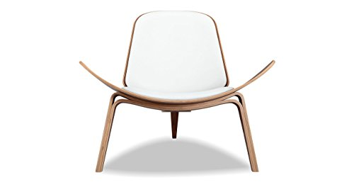 Kardiel Tripod Plywood Modern Lounge Chair, White Italian Leather/Walnut