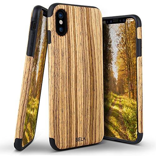 iPhone X Case, BELK [Air To Beat] Slim Soft Wood Bumper