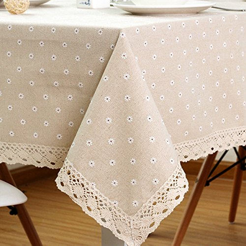 """ColorBird Daisy Flower Cotton Linen Tablecloth Macrame Lace Dustproof Table Cover for Kitchen Dinning Pub Tabletop Decoration (Square, 55"""" x 55"""", Daisy)"""