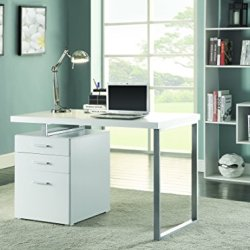 Coaster Contemporary White Writing Desk with File Drawer and Reversible Set-Up