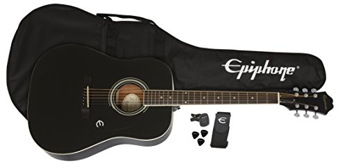 Epiphone PPAG-EAFTEBCH3 FT-100 Player Pack in Ebony, Jumbo, Ebony