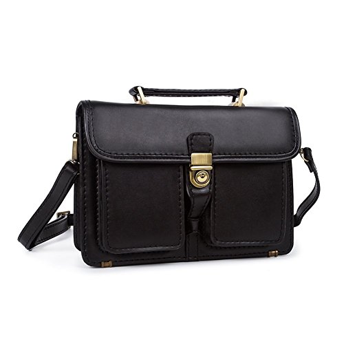 BAIGIO Men's Genuine Leather Laptop Business Flapover Briefcase Shoulder Messenger Bags