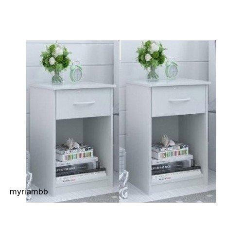 Set of 2 Nightstand MDF End Tables Pair Bedroom Table Furniture Multiple Colors (White)