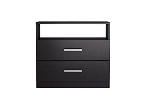 Homestar Alexander 2 Drawer Nightstand, 27.56 x 24.53 x 16.77, Black Brown