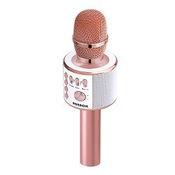 BONAOK Magic Sound & FM Wireless Bluetooth Karaoke Microphone Father's Day Gift 5-in-1 Portable Speaker Machine for Android/iPhone/iPad/Sony/PC or All Smartphone(Rose Gold)