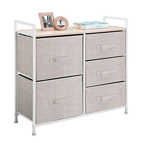 mDesign Fabric 5-Drawer Dresser and Storage Organizer Unit for Bedroom, Dorm Room - Linen