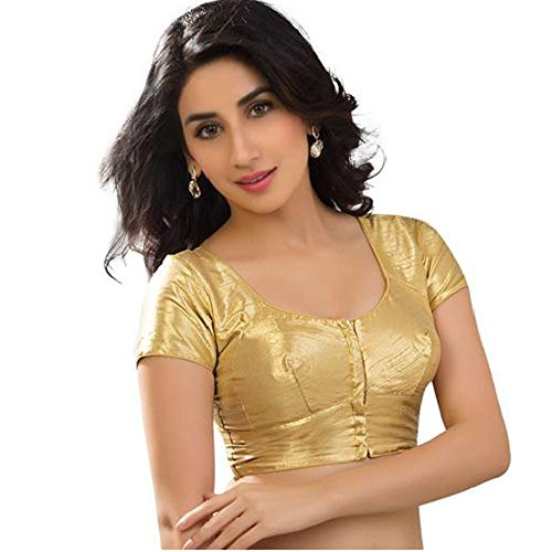 Bollywood Blouses Women's Katori Style Shimmery Designer Saree Blouses Padded Medium Gold
