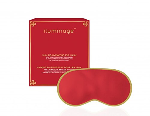 iluminage Limited Edition Red Skin Rejuvenating Eye Mask, Patented Copper Technology for Fine Line Reduction, Copper-Infused Eye Mask for Nightly Use