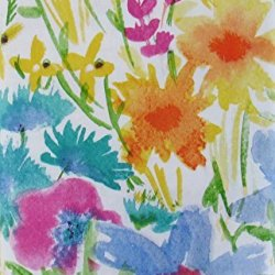 "Summer Meadow Watercolor with Zipper Umbrella Hole Vinyl Flannel Back Tablecloth (70"" Round)"