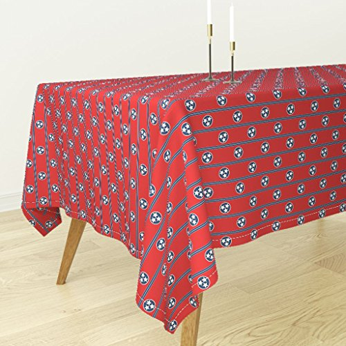 Roostery Tablecloth - Red White And Blue Tricolor Patriotic Tennessee Star Richelieu Lonely Angel by Peacoquettedesigns - Cotton Sateen Tablecloth 70 x 90