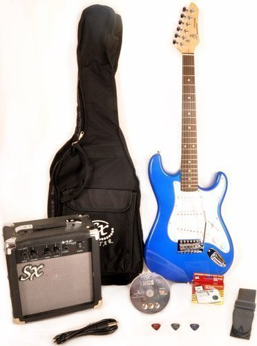 SX RST EB Full Size Blue Electric Guitar Package w/Guitar, GA1065 Amp, Strap and Instructional DVD