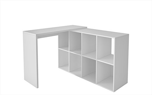 Manhattan Comfort Taranto Cubby Desk Collection Computer Desk with Storage with 8 Large Cubby Sections, White