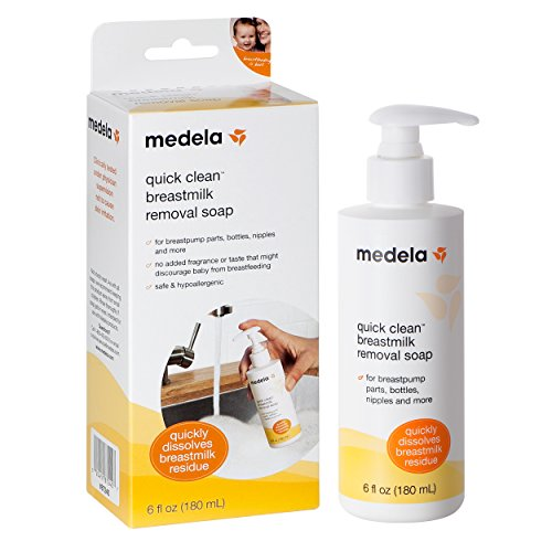 Medela Quick Clean Breast Milk Removal Soap, Hypoallergenic, No Scrub Soap for Breast Pump Parts and Nursing Apparel, 6 Fluid Ounce
