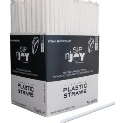 Crystalware Flexible Drinking Straws - 380/box Individually Wrapped, Food-Safe BPA Free Plastic, 7 3/4 Inches Long, Cold or Hot Drinks, White Color