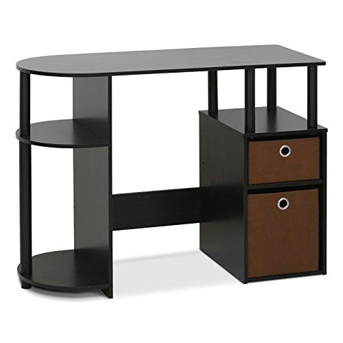 Furinno 15111EXBKBR Jaya Simplistic Computer Study Desk with Bin Drawers & Espresso, Brown