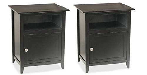Set of 2 Wood End Table/Night Stand with Door and Shelf, Black