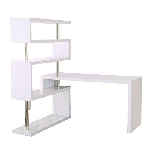 HOMCOM Rotating Home Office Corner Desk and Storage Shelf Combo - White
