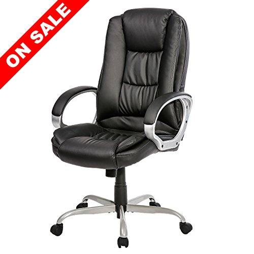 Merax Office Desk Chair Ergonomic High Back PU Leather Chair Executive Swivel Task Chair New Upgrade Version 2018 (All black)