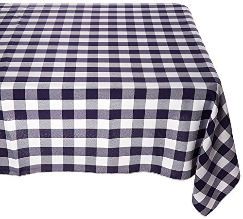 """lovemyfabric Gingham/Checkered 100% Polyester Restaurant Style for Picnic, Party, Dinner, Country Style Evants Tablecloth/Overlay (54""""X54"""", Navy Blue)"""