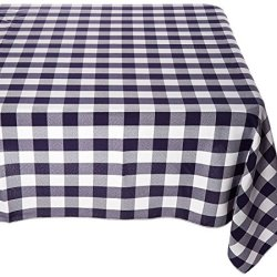 "lovemyfabric Gingham/Checkered 100% Polyester Restaurant Style for Picnic, Party, Dinner, Country Style Evants Tablecloth/Overlay (54""X54"", Navy Blue)"