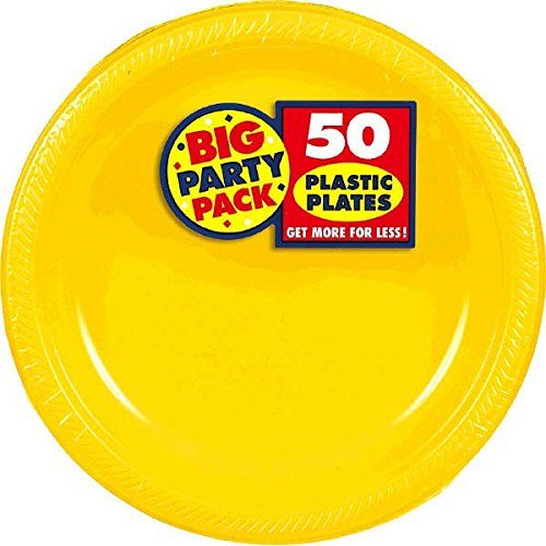 Big Party Pack Dessert Plates, 50 Pieces, Made from Plastic, Sunshine Yellow, 7-Inch by Amscan
