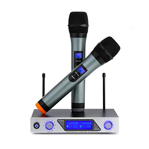 ARCHEER VHF Wireless Microphone System, Handheld Professional Home KTV Set with Dual Channel Handheld Microphone for Conference, Karaoke, Recording, YouTube, Evening Party