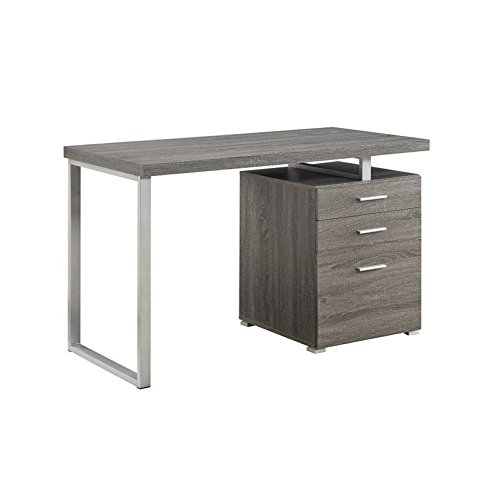 Coaster Contemporary Weathered Grey Writing Desk with File Drawer and Reversible Set-Up