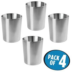mDesign Round Metal Small Trash Can Wastebasket, Garbage Container Bin for Bathrooms, Powder Rooms, Kitchens, Home Offices - Pack of 4, Durable Stainless Steel with a Polished Finish