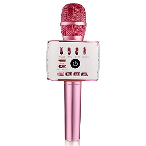 BONAOK Upgraded Bluetooth Wireless Microphones Karaoke Q900,Thanksgiving gift 4-in-1 Portable Handheld Microphone Speaker Machine for Android/ iPhone/ Apple/ PC or Smartphone(Purple)