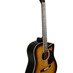 Full Size Sunburst Cutaway Acoustic Guitar - & DirectlyCheap(TM) Translucent Blue Medium Guitar Pick (PRO-A Series) [Teacher Approved]