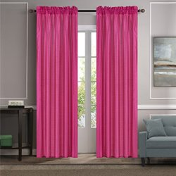 """GorgeousHome (MR2) Versatil 2 Panel Window Curtain Faux Silk Rod Pocket Semisheer Treatment Unlined in Solid Colors and in 3 sizes (84"""", HOT PINK)"""