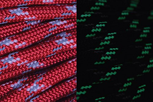 UltraCord 50 Feet - Red - Reflective, Glow in the Dark Cord with Fishing Line and Jute Inside