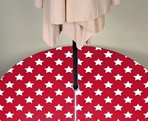 "Fabric Textile Products, Inc. Patriotic Outdoor Tablecloth Milliken Waterproof with Zipper & Umbrella Hole. Assorted Designs & Sizes Available! (60"" Round, Freedom Stars Red)"
