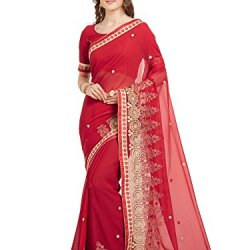61b0c03883592b Viva N Diva Saree for Women s Cherry Red Color Faux Georgette Embroidery  Saree with Un-Stiched Blouse Piece
