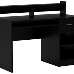 OneSpace Essential Computer Desk, Hutch with Pull-Out Keyboard, Black
