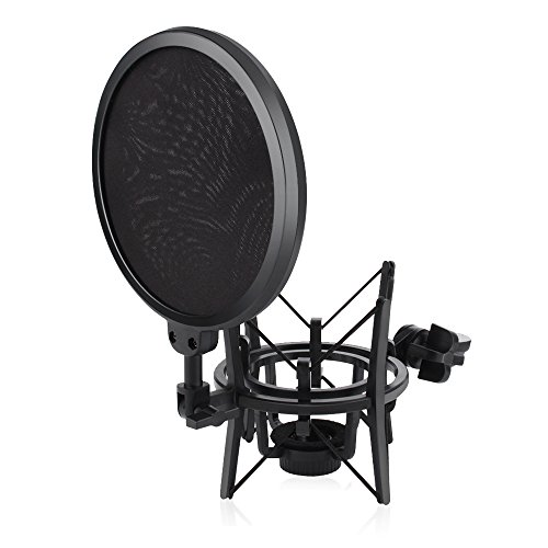 Microphone Shock Mount with Pop Filter, ARCHEER Mic Anti-Vibration Suspension Shock Mount Holder for diameter of 21mm freely rotating threaded microphone,Studio Radio Broadcasting and Recording