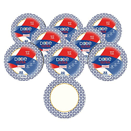Dixie Ultra Heavy Duty Paper Plates, 10 1/16 inch, 176 Count (8 Packs of 22 Plates)