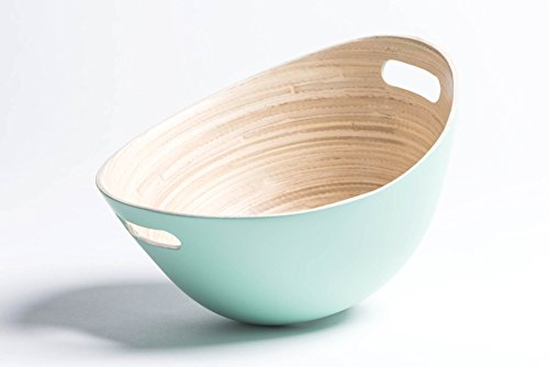 JustNile Bamboo Wood Salad Bowl | Modern Design Bowl Made From 100% Natural Bamboo | For Salad, Potato Chips and More – Different Colors Available - Baby Green