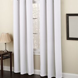 "Gorgeous Home LinenVarious of Colors & Sizes 1 PC #92 , Solid Insulated Foam Backing Lined Blackout Hotel Quality Grommet Top, Soft Smooth Touch, Window Curtain Panel (84"" Length, White)"