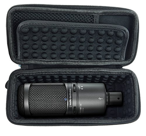 CASEMATIX Padded AT2020 Microphone Case for AT2020 USB, AT2020USB PLUS, AT2035, AT2050, AT4033a, AT4040, AT4050, ATR2500-USB, Windscreen and Small Cable Accessories