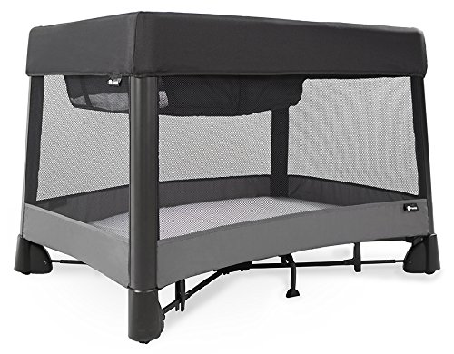 4moms breeze plus portable playard with removable bassinet and changing station - easy one push open, one pull close