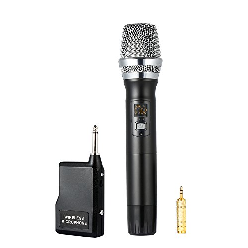 "Archeer 48 Channel UHF Wireless Microphone with Mini Portable Receiver 1/4"" Output and 1/8"" Adapter, Handheld Dynamic Microphone System Singing Machine for Karaoke Nights, Church, Business Meeting"