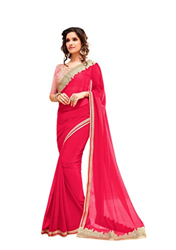 Aarah Women's Ethnic Wedding And Party Wear Saree and Heavy Work Blouse Free Size
