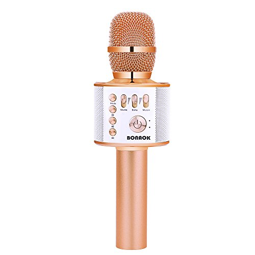 BONAOK 2200mAh Karaoke Mic Wireless Bluetooth Rose Golden Microphone Speaker Machine for Android/iPhone/iPad/Sony/PC or All Smartphone