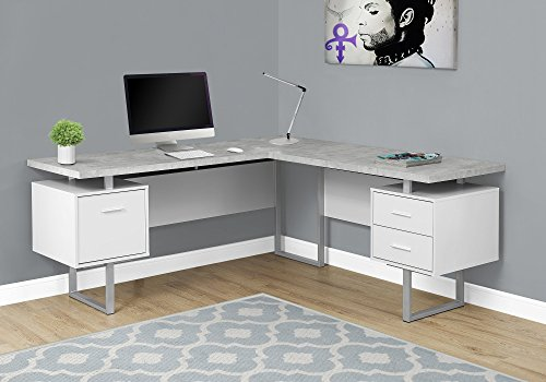 """Monarch Specialties Computer Desk Left or Right Facing White/Cement-Look 70"""" L"""