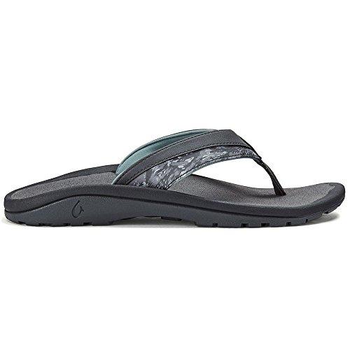 OluKai Men's Ohana Koa Sandal (Charcoal/Charcoal, 12)