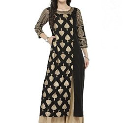 Designer Kurta Kurti Indian Women Bollywood Tunic Ethnic Pakistani Top Crepe Kurtis Dress Tunics Cotton Tops Blouse Style Long Silk (L)